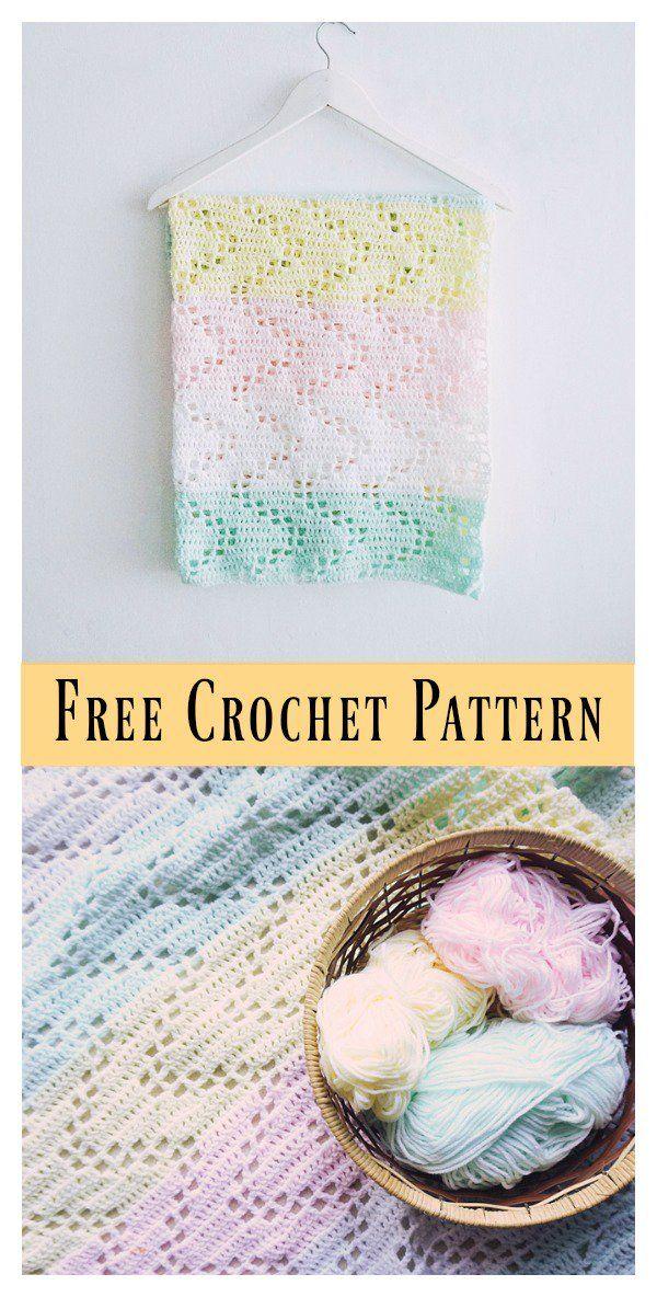 Hopscotch Lace Baby Blanket Free Crochet Pattern | Pinterest | Manta ...