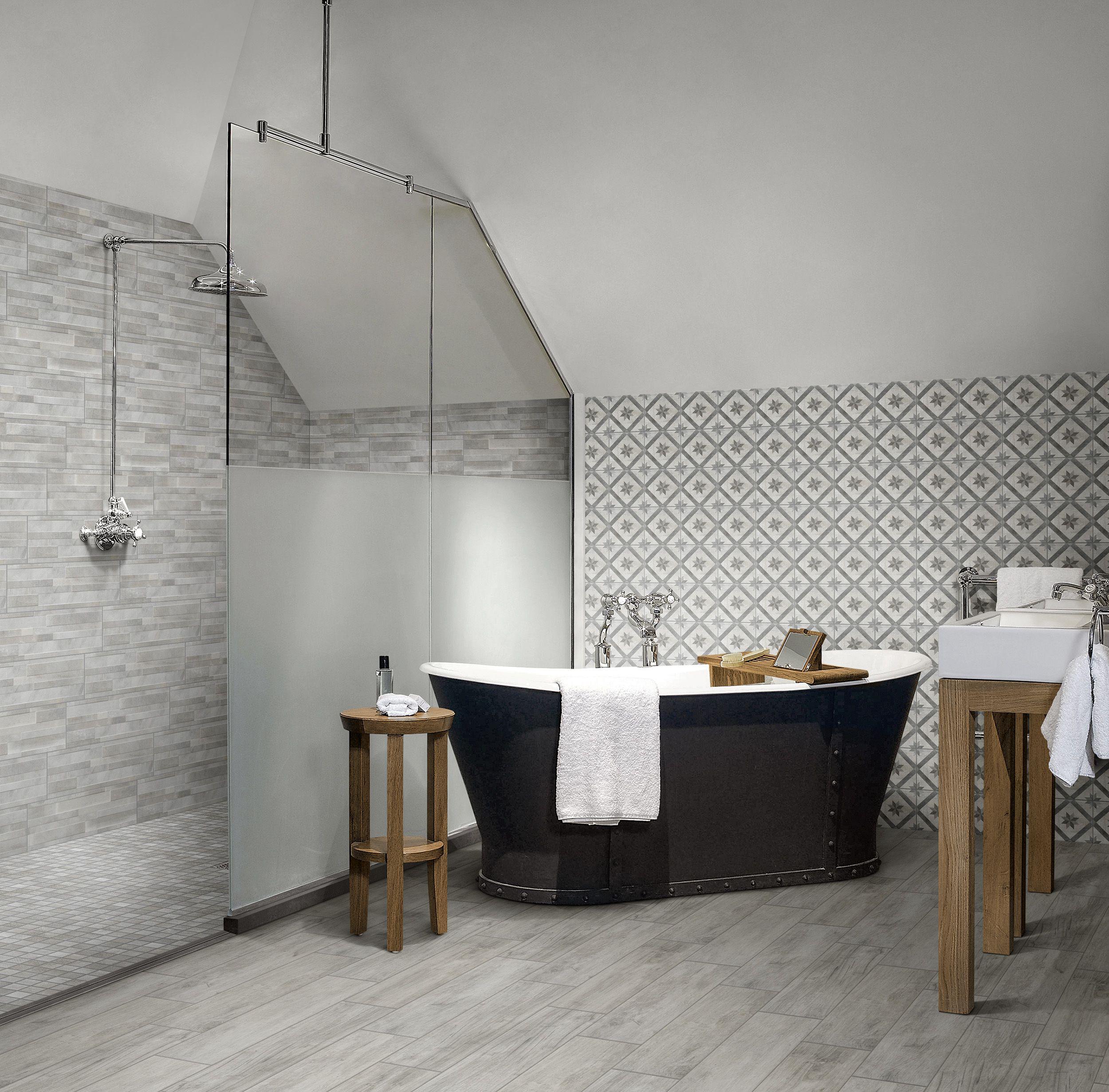 Cemento White Deco Bathroom Tiles Bathtub
