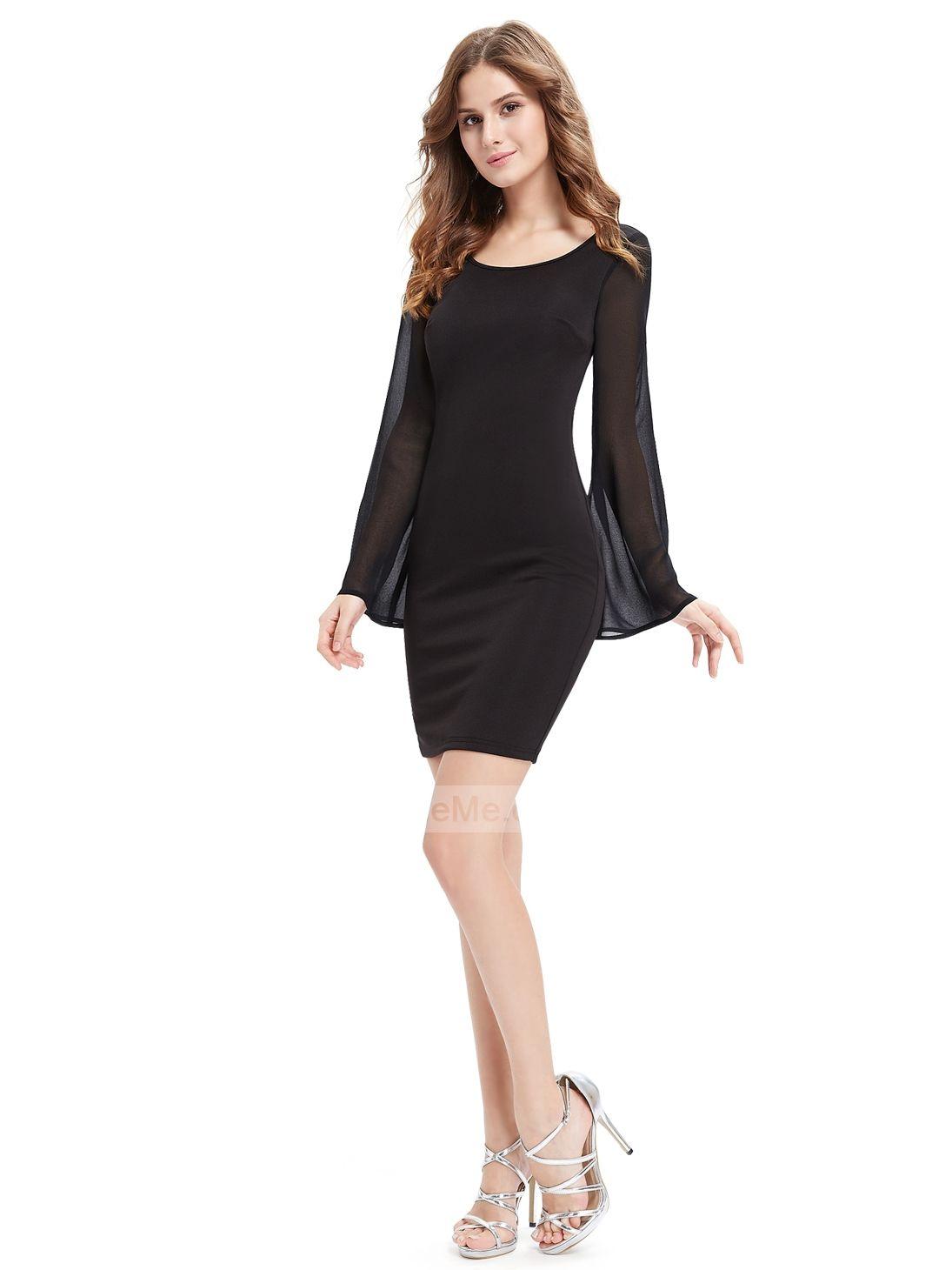 Simple Black Chiffon Long Sleeves Fitted Fashion Short Prom Dress Womens Sheath Dress Black Dress Fashion [ 1460 x 1095 Pixel ]