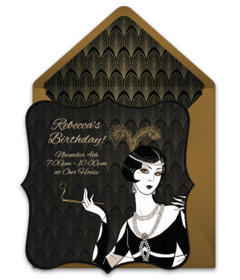 Free Adult Birthday Invitations Stylish Online You Can Personalize And Send Via Email We Love This Design For A 1920s Gatsby Party