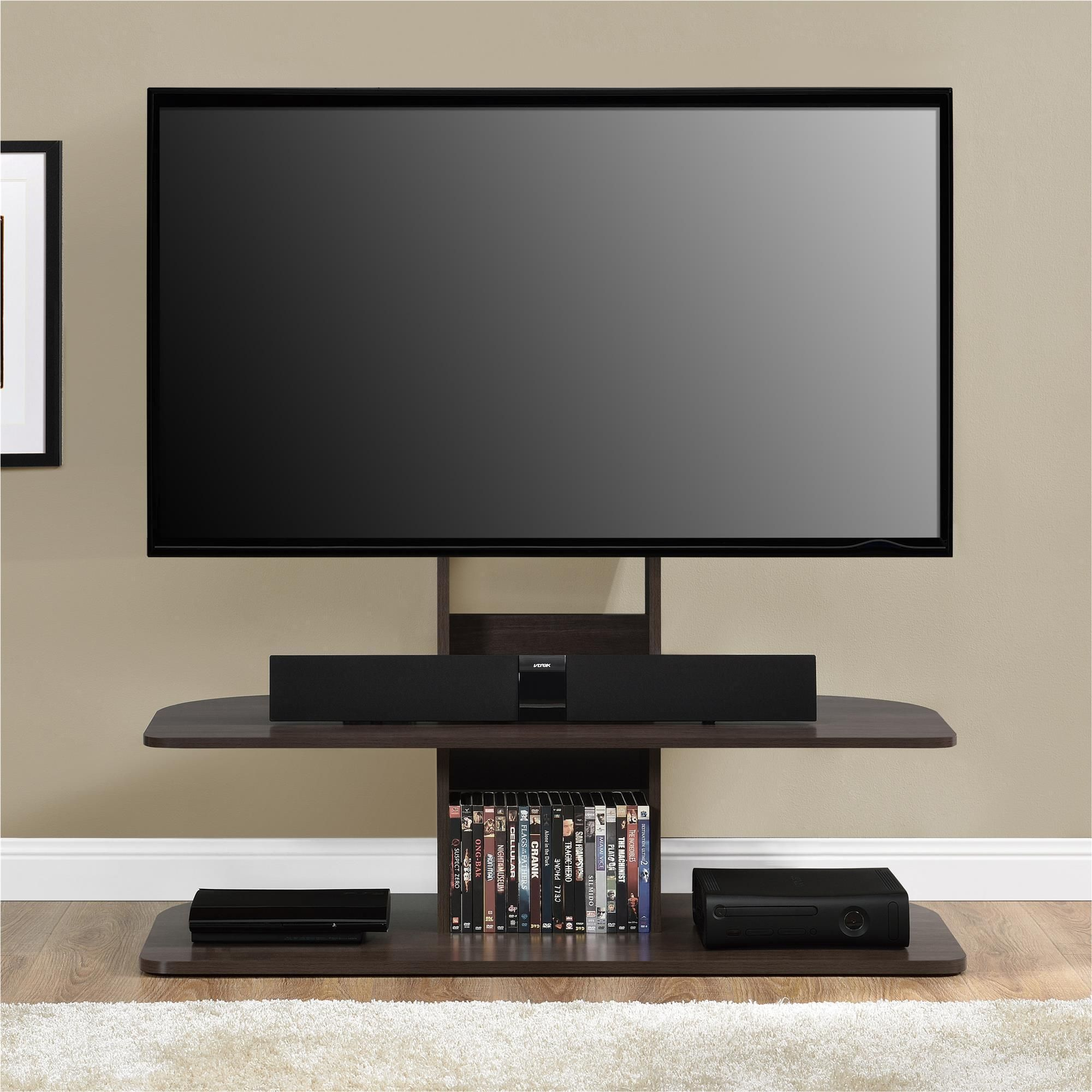 Ameriwood Home Galaxy Dark Walnut Brown 65 inch TV Stand with