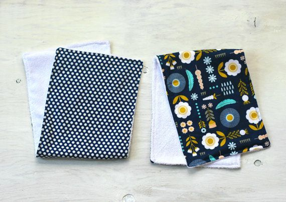Set of Two Navy Blooming and Polka Dot Burp Cloths by DixieBloom