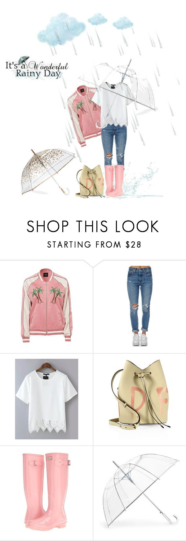 """""""Spring Rain"""" by catsanddogs-563 ❤ liked on Polyvore featuring Levi's, Kendall + Kylie, Hunter, ShedRain, Spring, rain and umbrellas"""