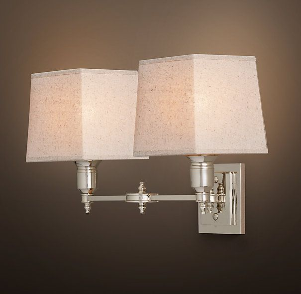 Bath Sconces With Shades rh's claridge double sconce with linen shade:elegant hotels and