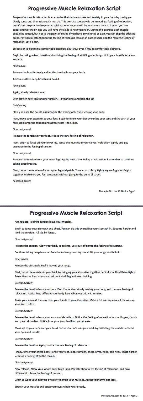 Progressive muscle relaxation script one element of cbt therapy one element of cbt therapy is to learn self calming self relaxation techniques at times of increasing stress or anxiety here is one script to get you robcynllc Image collections