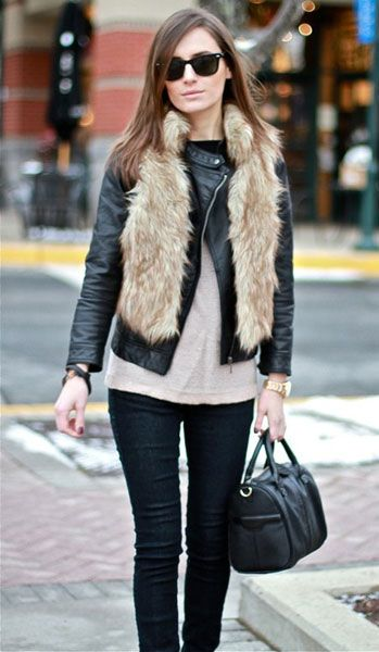 10 Ways To Wear A Fur Vest | Fashion Inspiration Blog... but i will ONLY wear faux, perhaps some donna salyers fabulous furs!