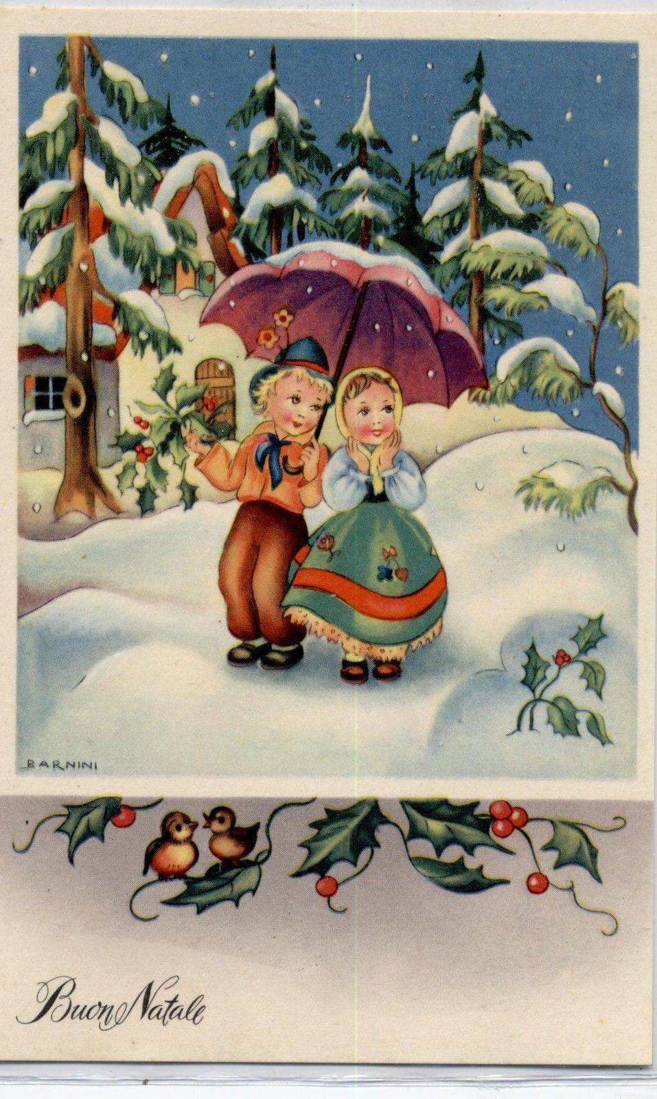 Barnini childrens under umbrella winter landscape snow xmas pc barnini childrens under umbrella winter landscape snow xmas pc circa 1940 c christmas postcards vintage christmas cards kristyandbryce Images