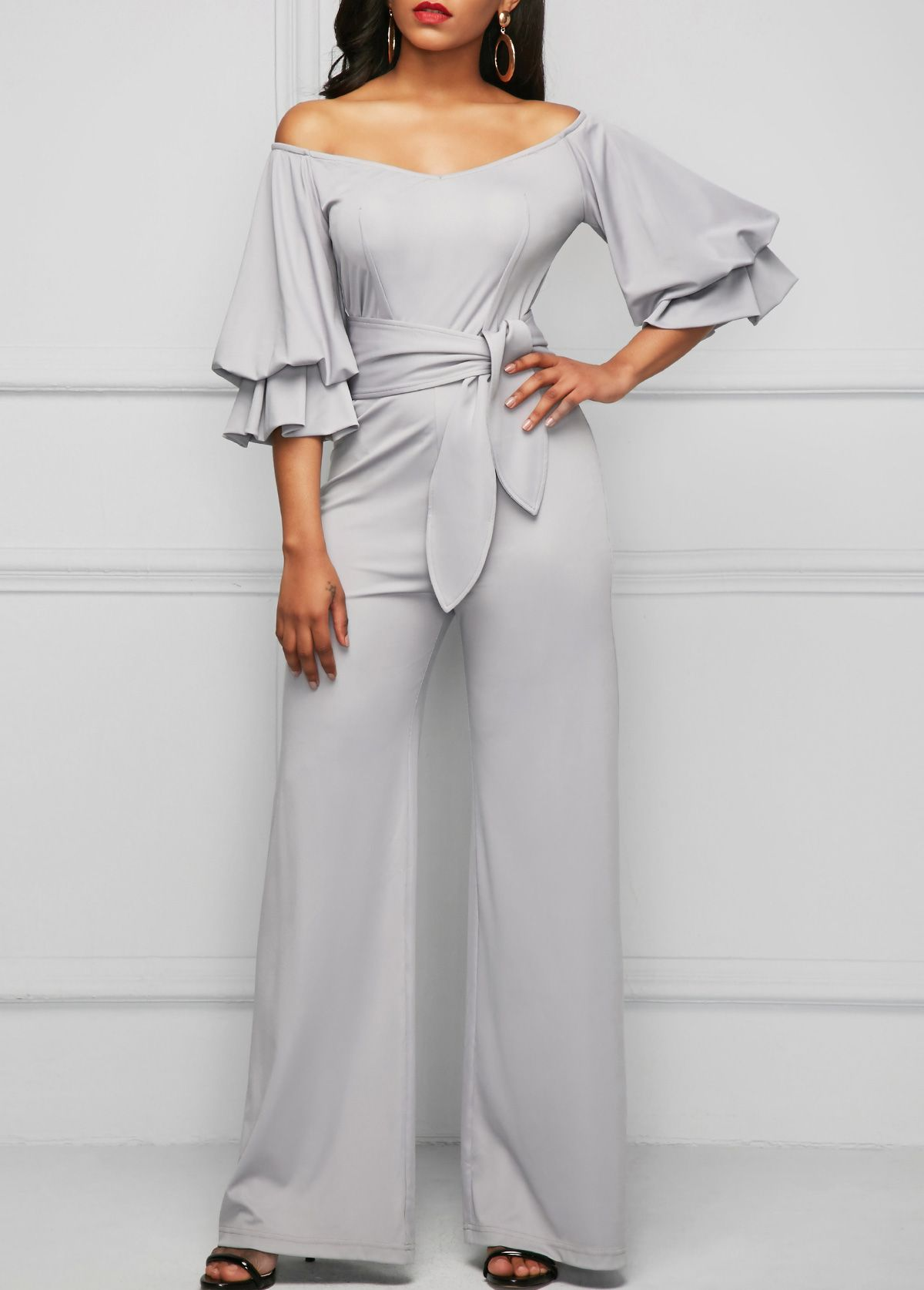 e36727f186a4 Layered Sleeve Bardot Light Grey Jumpsuit on sale only US 36.32 now ...