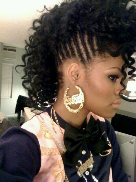 Braided Curly Faux Hawk Braided Mohawk Hairstyles Natural Hair