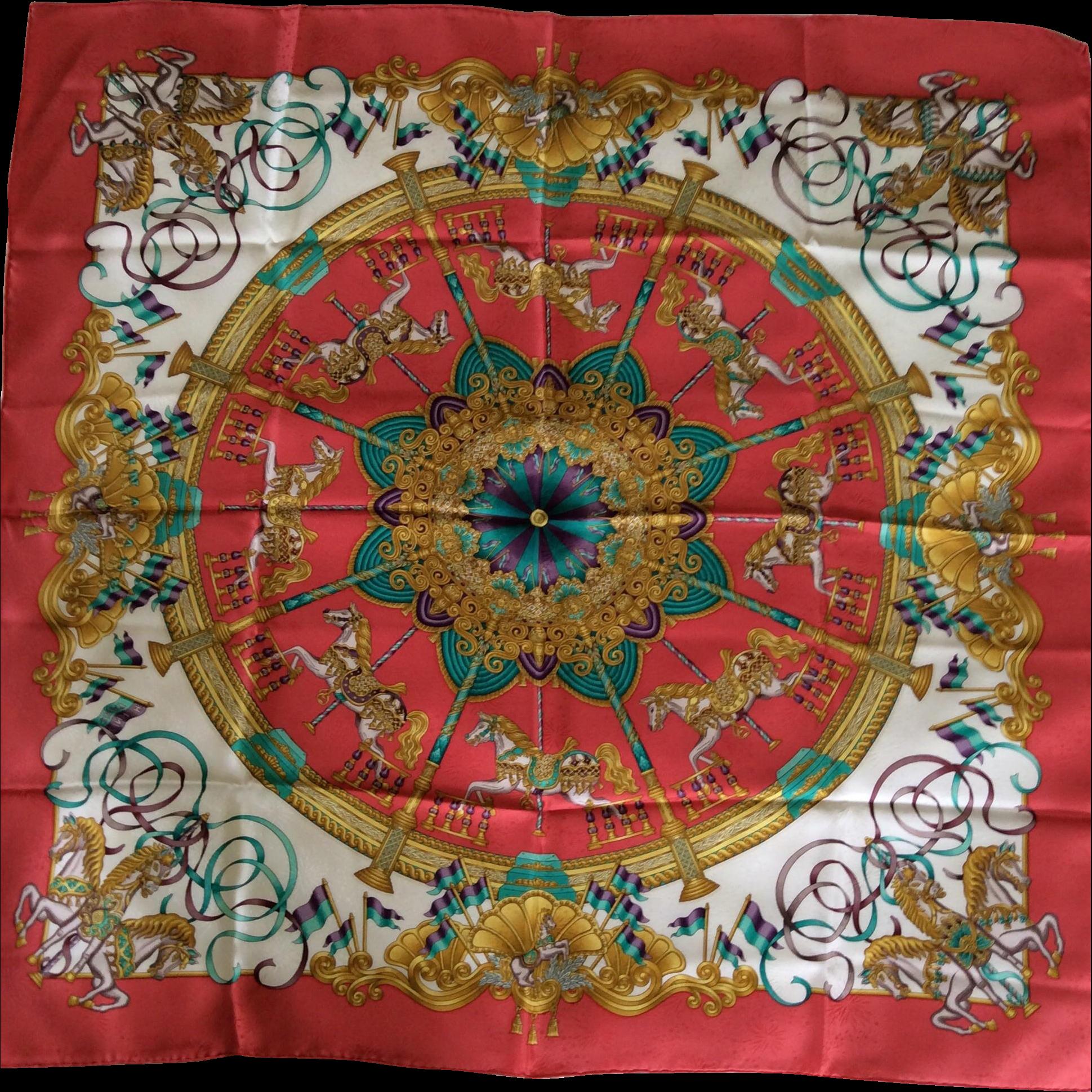 6467759c69cb Hermes Jacquard Silk Scarf  Luna Park   Silk scarves, Scarves and Silk