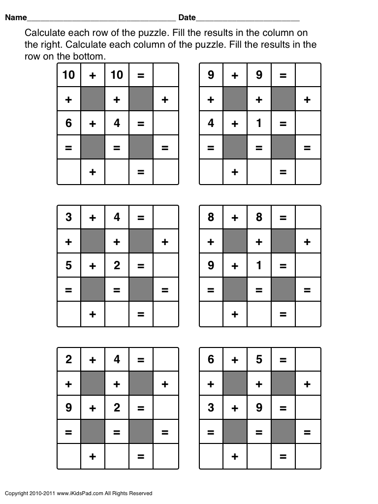 small resolution of free Math puzzles for 1st grade   Maths puzzles
