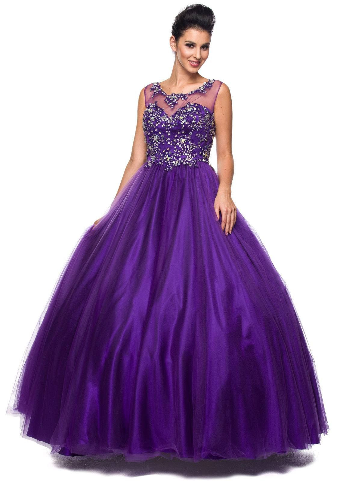 Jewel neckline mesh yoke long purple engagement gown engagement