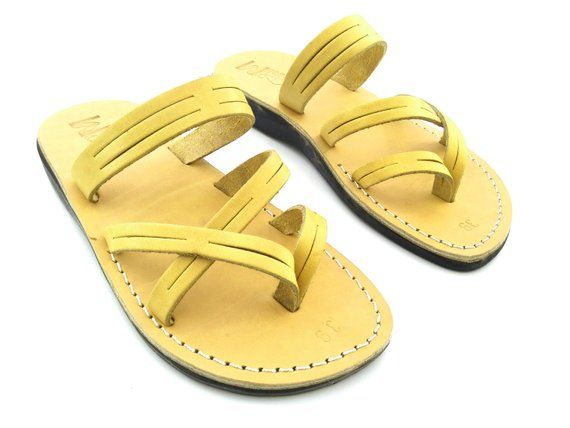 Yellow Leather Sandals for Women, Elegant Comfortable Classic style, Greek Grecian Ancient Roman Spartan Hermes Sandals, Leather Thong, DANA