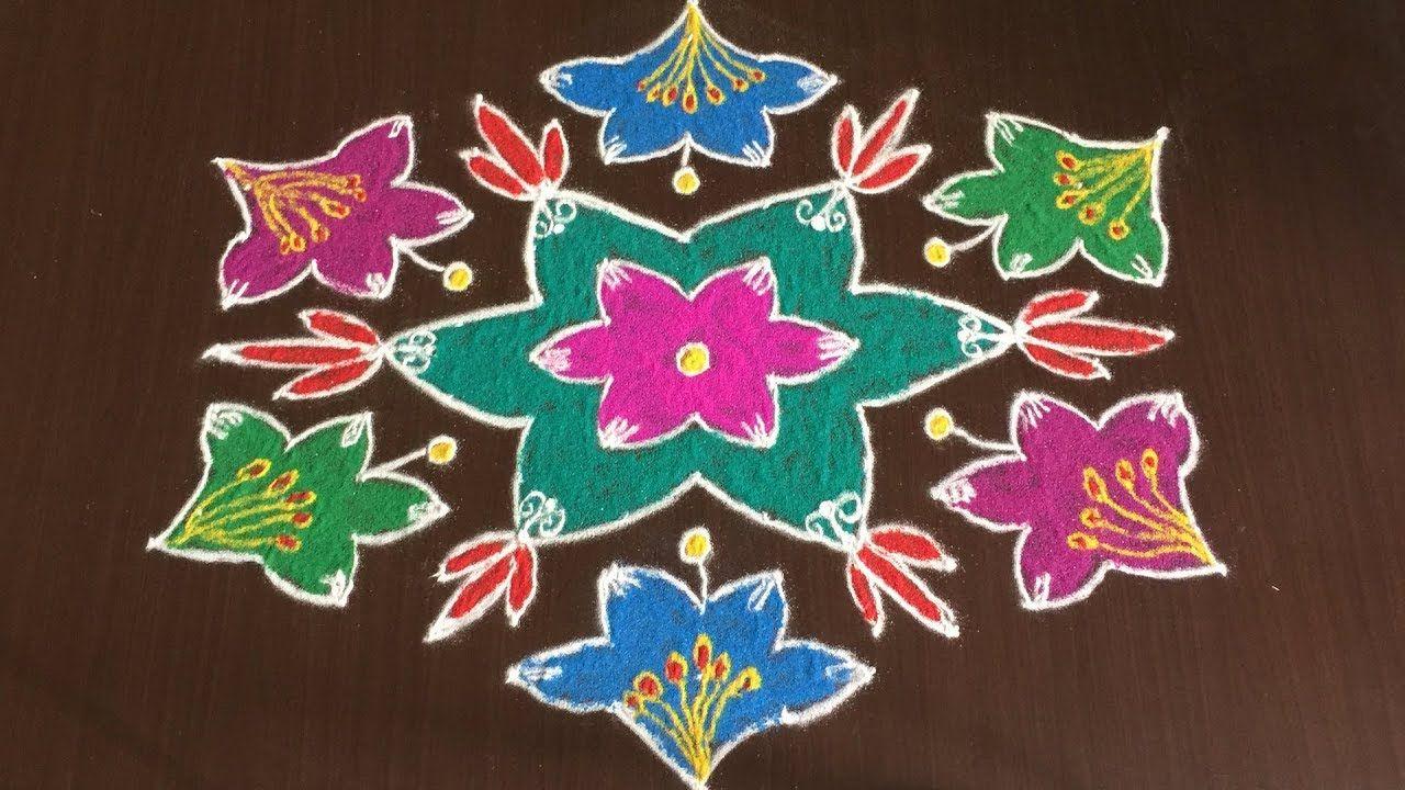 Flower Rangoli Designs Simple Flower Rangoli Designs With 13 7 Dots Latest Flower Kolam Simple Flower Rangoli Flower Rangoli Rangoli Designs