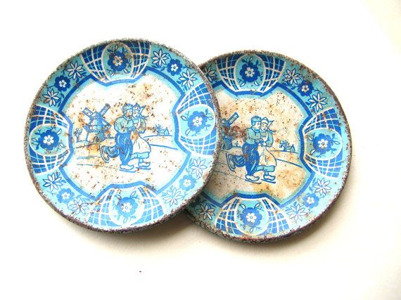 Vintage Tin Toy Plates - Blue Dutch Theme Plates - Rusty Tin Plates - Distressed Primitive Plates  sc 1 st  Pinterest : antique tin plates - pezcame.com
