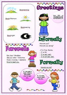 Search farewells pinterest searching this is a very simple worksheet suitable for beginners about greetings and introducing people the front page is basically a vocabulary sheet which can m4hsunfo