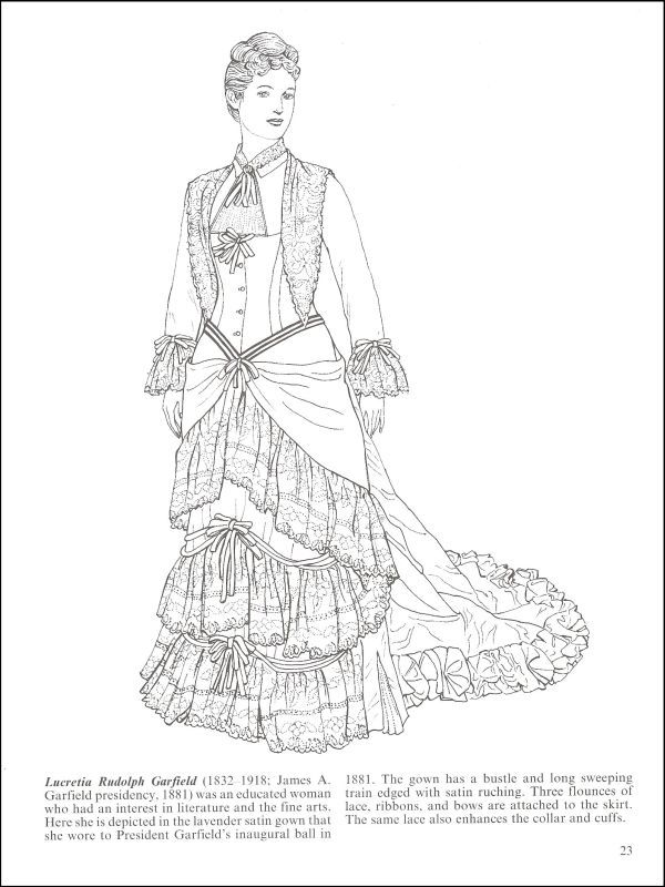Fashions of the First Ladies Coloring Book History Coloring