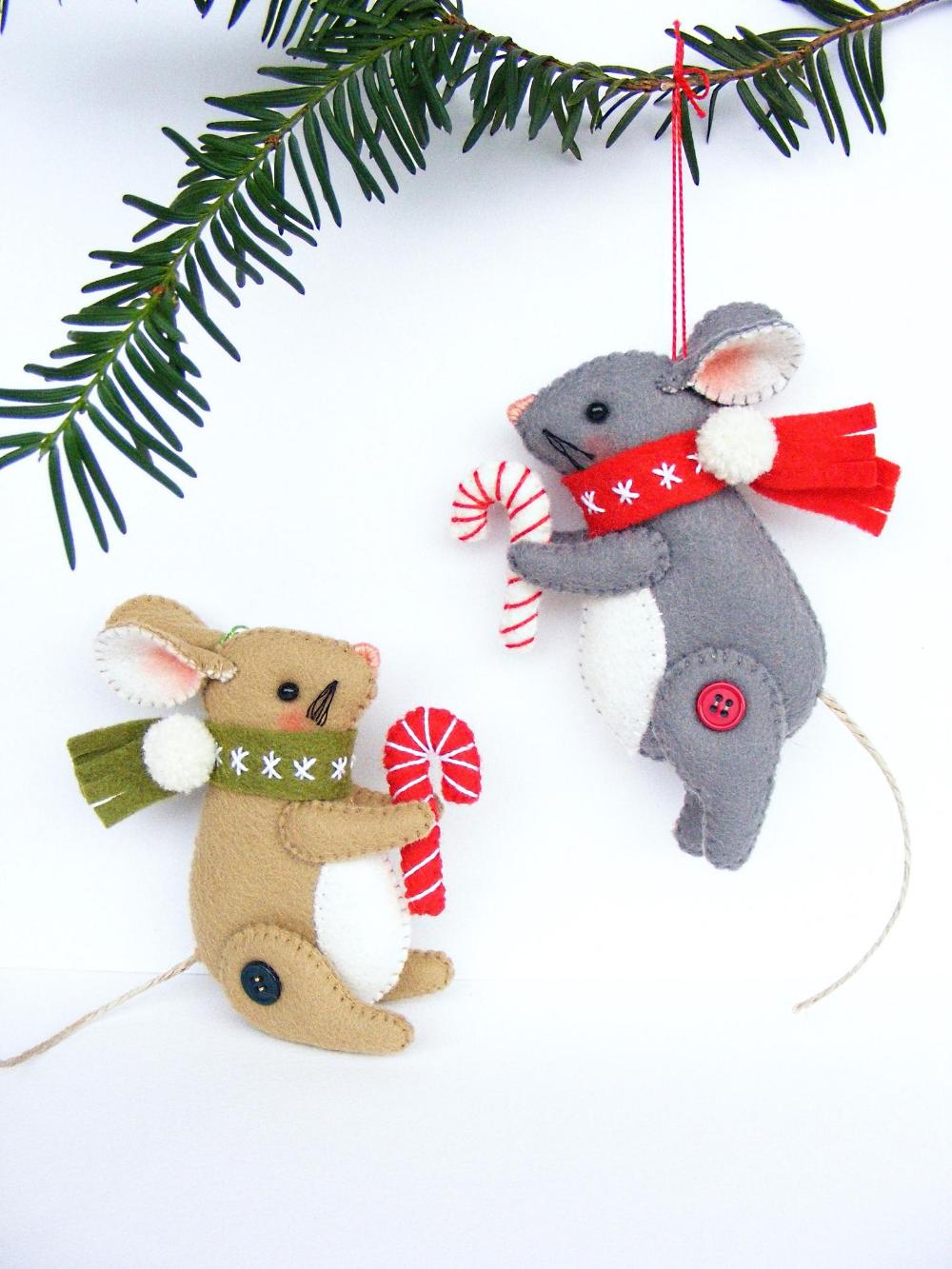 Felt Pdf Sewing Pattern Christmas Mouse Christmas Etsy Handmade Felt Ornament Christmas Ornament Pattern Felt Ornaments