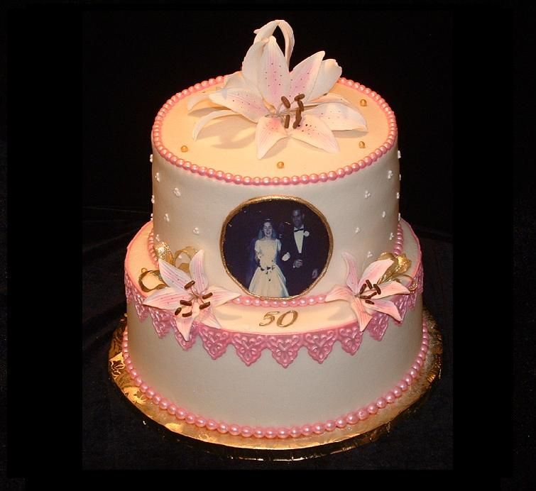 Gold Wedding Cake Decorations: 2-Tier 50th Wedding Anniversary Cake. Buttercream Frosting