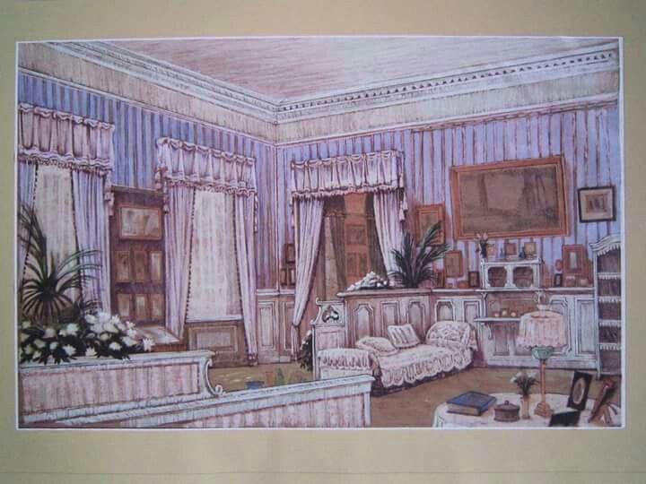 "Drawing of Mauve Boudoir at the Alexander Palace,Tsarskoe Selo. ""AL"""