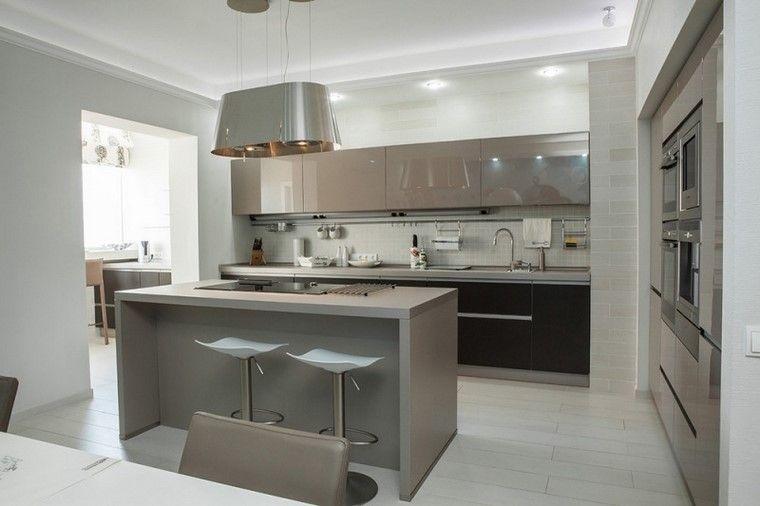 Cocina peque a con isla muy moderna cocina pinterest for Cocinas modernas pequenas 2016