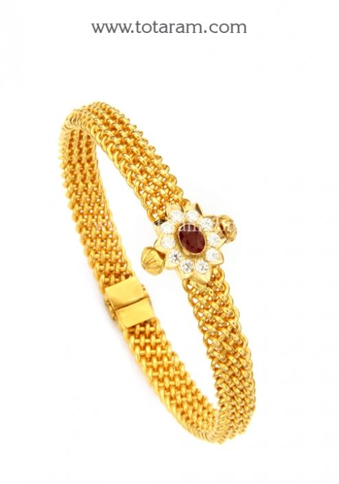 22K Gold Kada with Ruby Cz Single Piece Totaram Jewelers Buy