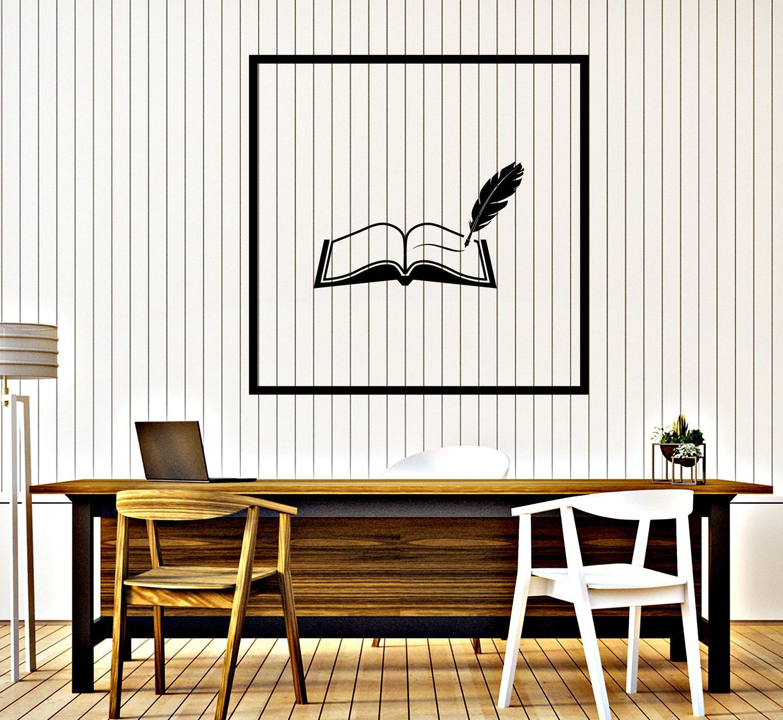 Wall Vinyl Decal Book and Pen Reading Room Library Decor z4643