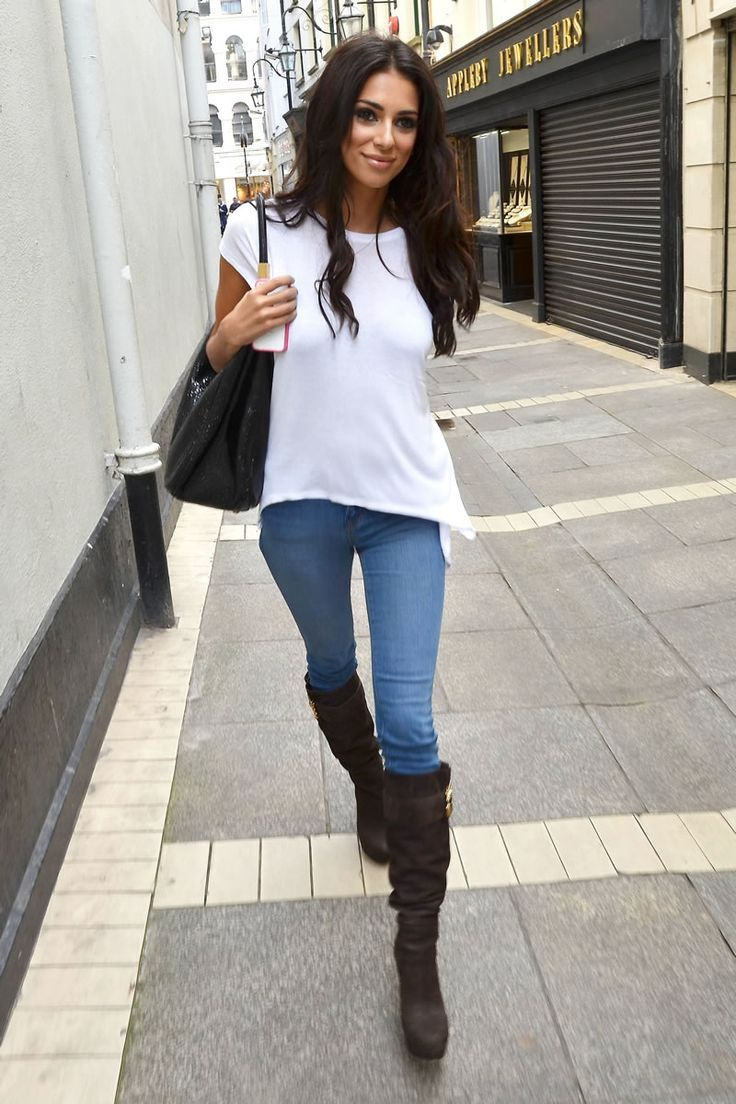 Leather jacket white shirt top baseball cap ankle boots and skinny ...