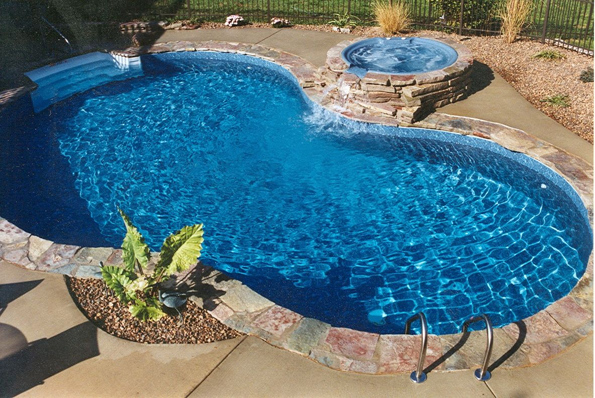 Fiberglass pool with hot tub google search backyard for Pool design with hot tub