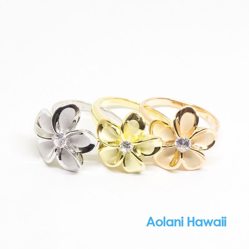 Silver Gold Plumeria Flower Ring With Cz Stone Solid Gold Bracelet Pink Gold Rings Hawaiian Jewelry