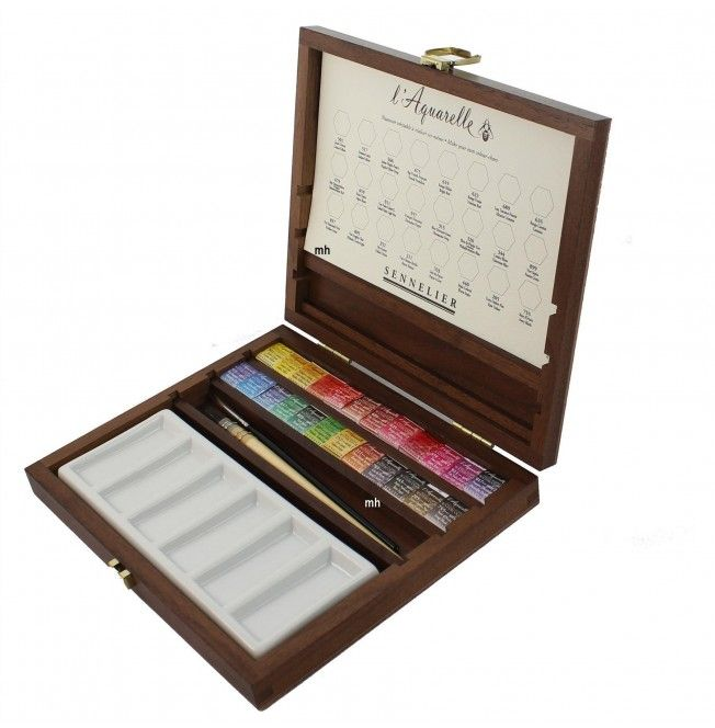Sennelier L Aquarelle Wooden Box Extra Fine Artists Watercolour 24