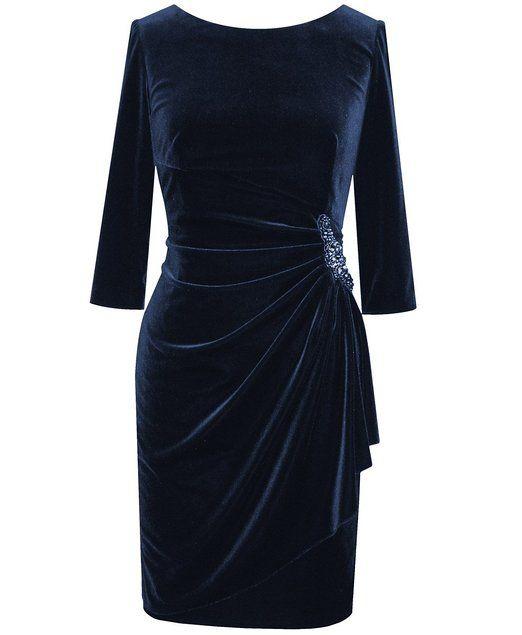 Plus Size Navy Stretch Velvet Dress Size 16 Color Navy