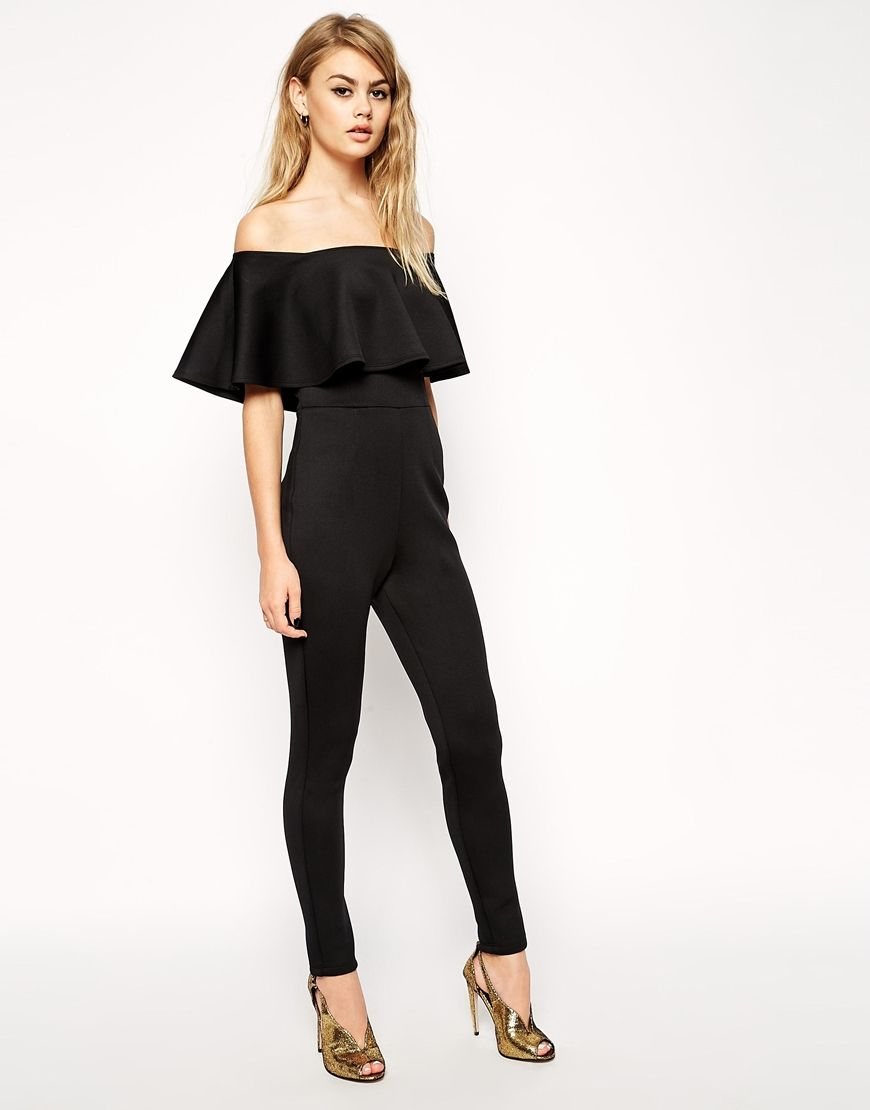 ASOS Scuba Jumpsuit With Off Shoulder Ruffle | wishlist may ...