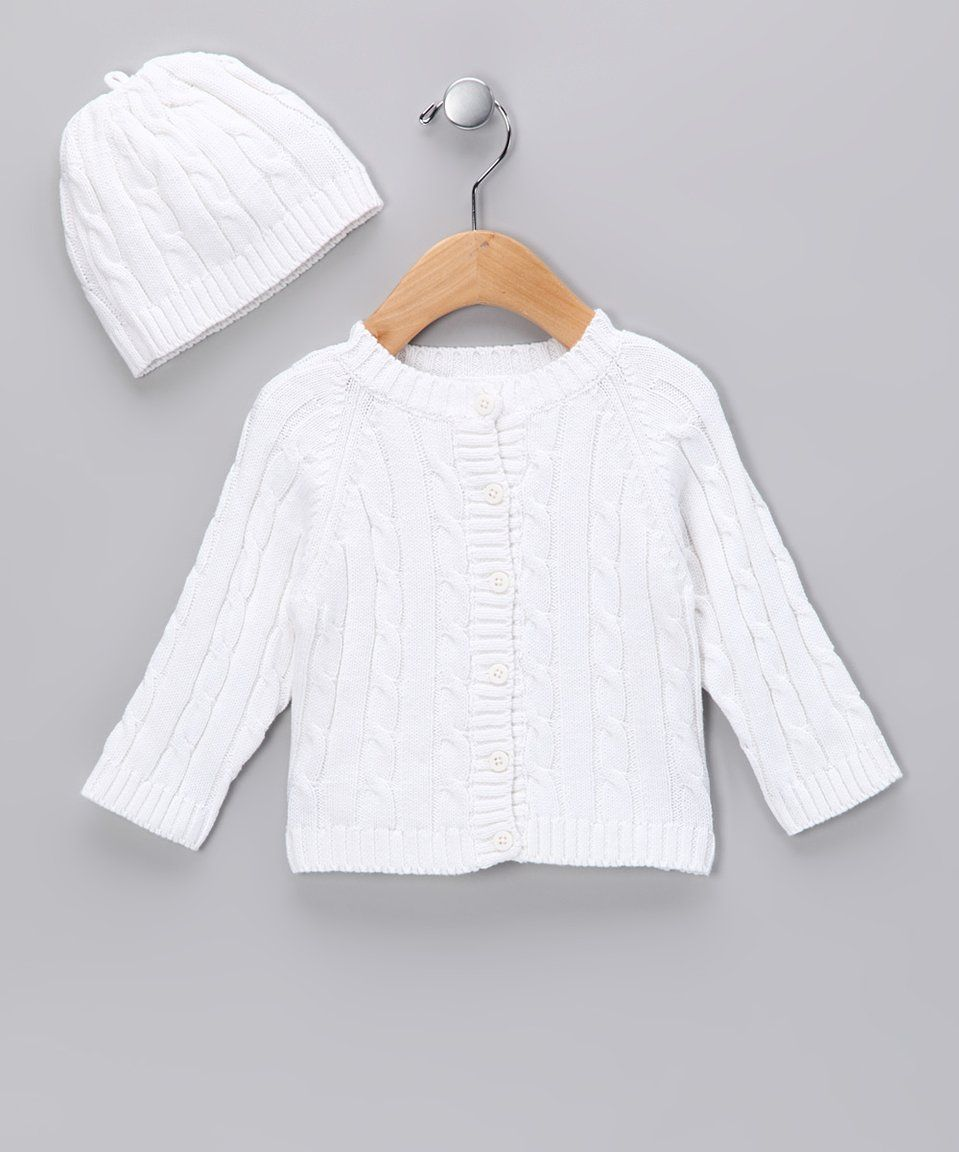 14ac0df1e158 Take a look at this White Cable-Knit Cardigan   Beanie - Newborn ...