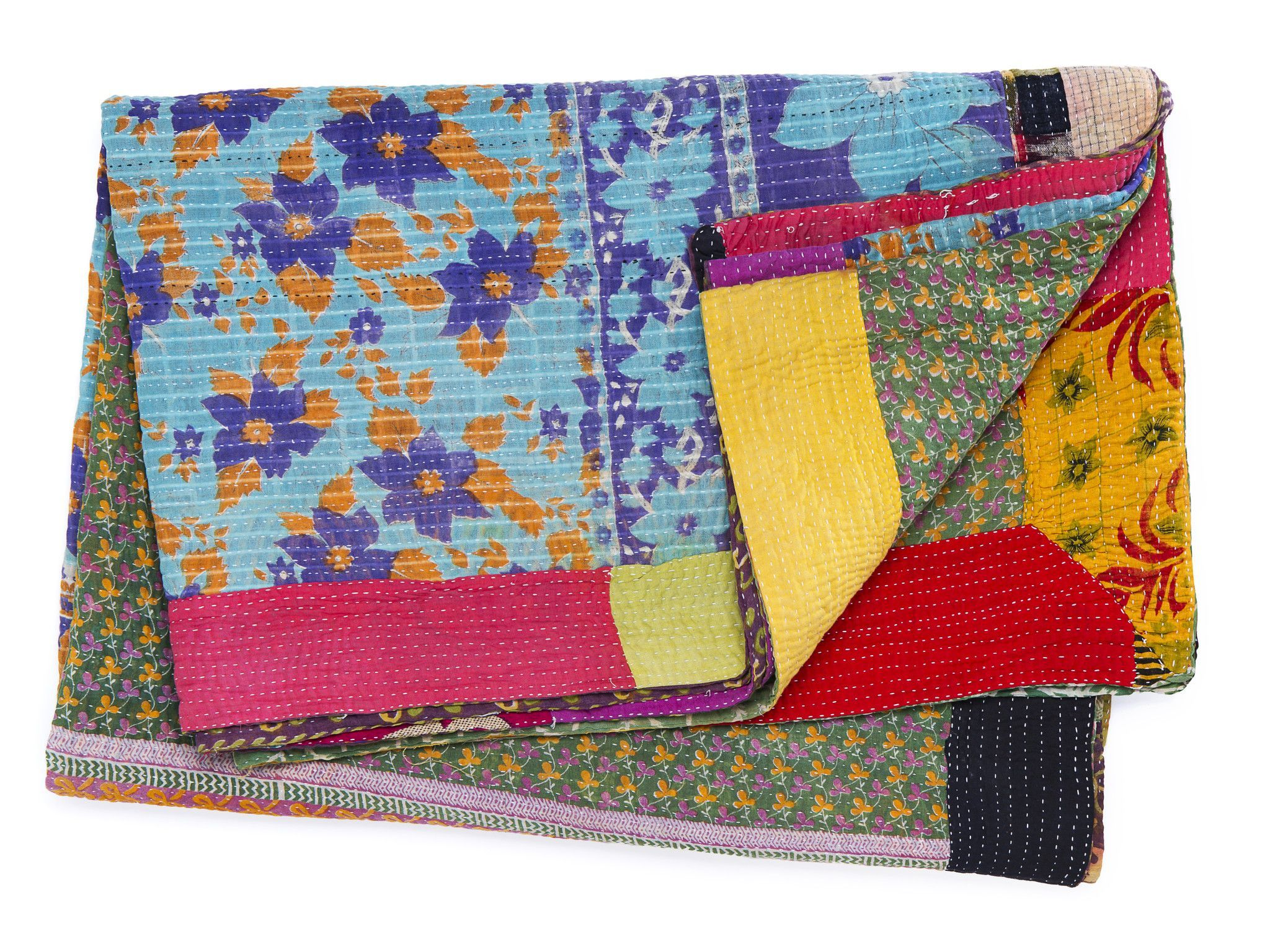 Happiness. Vintage Hand-Stitched Kantha Throw