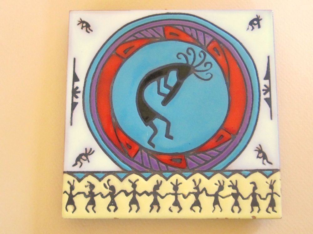 Tile Decorations Prepossessing Kokopelli Flute Player Southwestern Style Art Tile Trivet Wall 2018