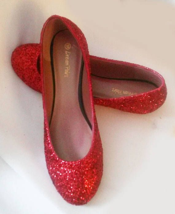 buy popular size 7 best sneakers Glitter Flats / Red Glitter Flats / Wedding Shoes / Sparkle ...