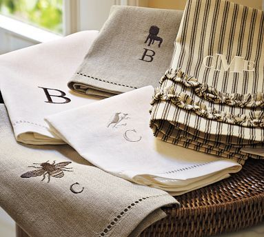 Bee monogrammed guest towel & ruffled ticking towel from PB