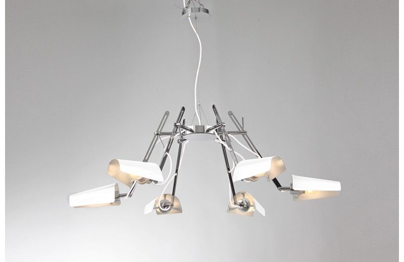 Bjorn lustre 6 branches blanc chromé luminaire design sodezign sodezign com