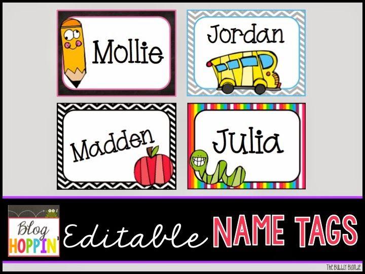 Blog Hoppin Editable Name Tags Freebie Kindergarten Name