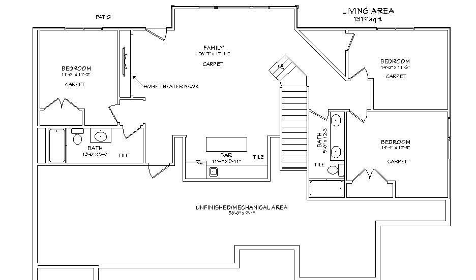 Walkout basement appraisal house plans with walkout for Ranch floor plans with basement
