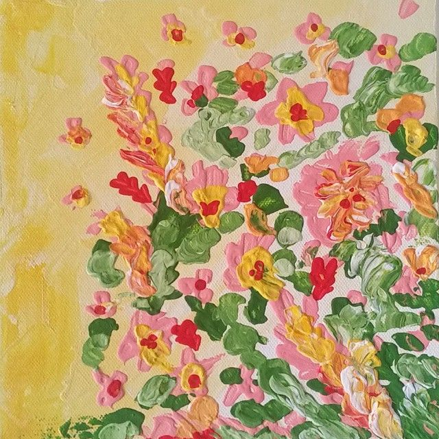 Field of flowers #painting #flowers #colorful #summer #summertime #canvas #acrilico