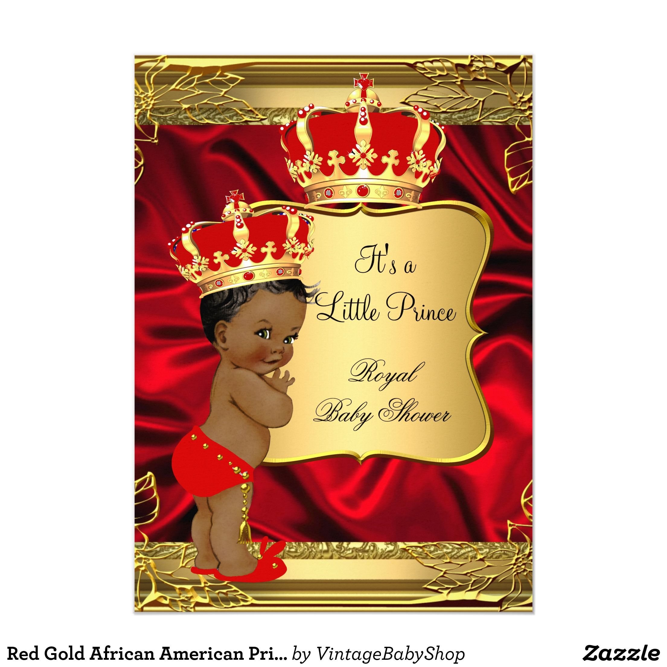 Red Gold African American Prince Baby Shower Invitation | Pinterest ...