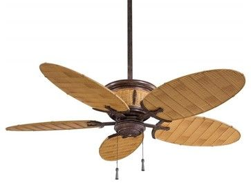 Minka Aire Shangri La Vintage Rust Bamboo Outdoor Fan Tropical