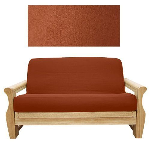 Suede Rust Futon Cover Loveseat Ottoman 616 By Slipcovershop 5900