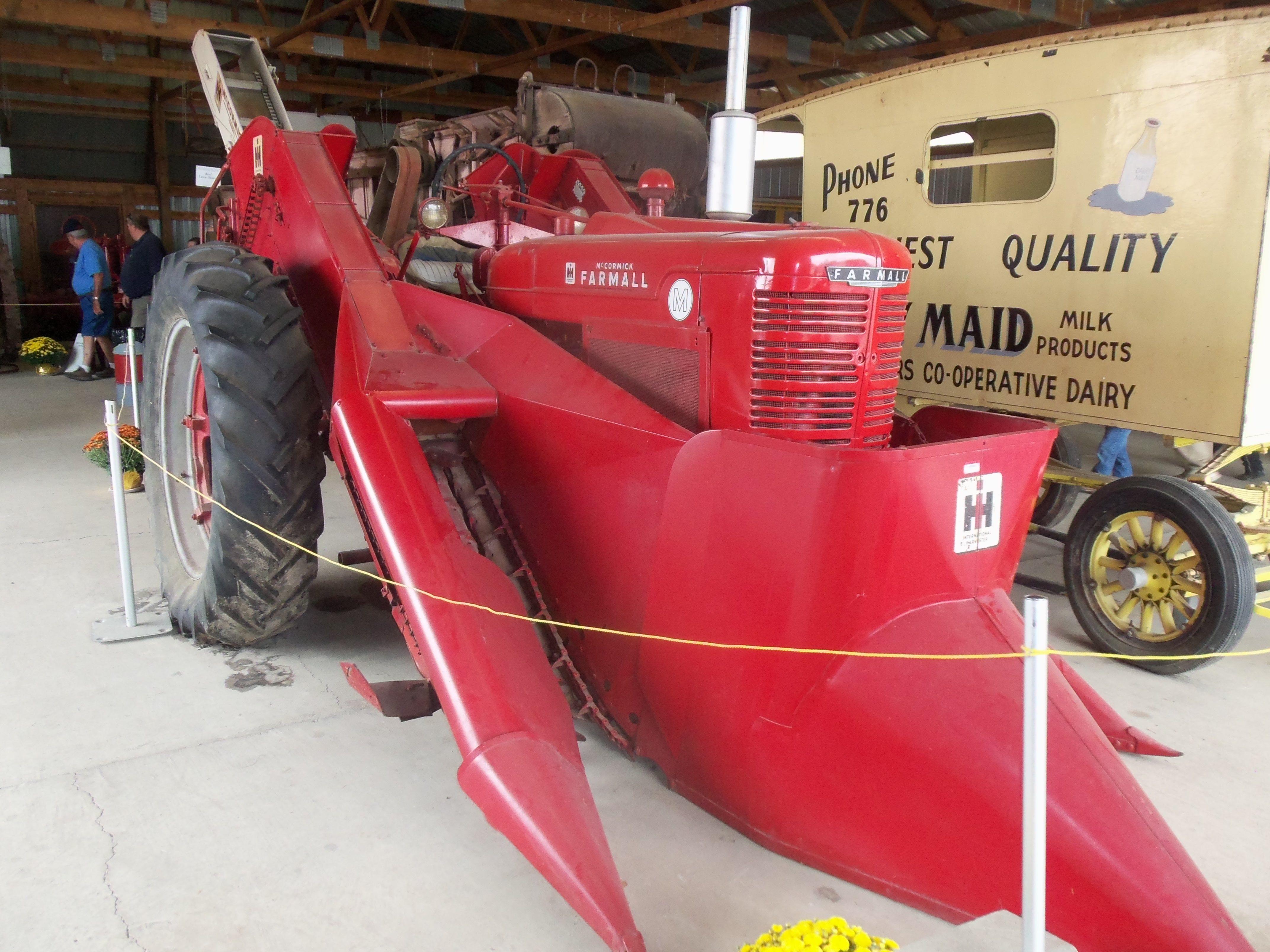 Cartoon Tractor Corn Picker : Farmall m with red corn picker international