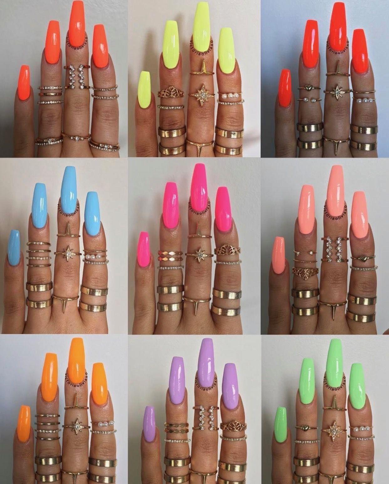 Neonnnnnnn Cute Acrylic Nails Gorgeous Nails Summer Acrylic Nails