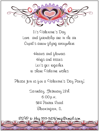Day Invitation Wording Geccetackletartsco - Valentine's day invitation template