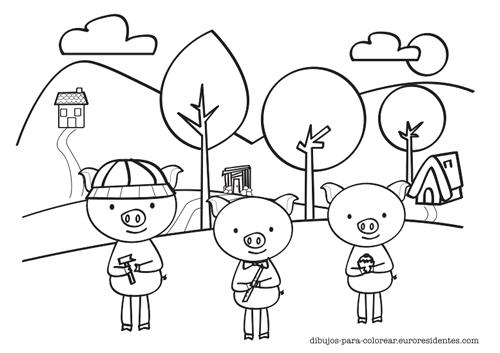 Dibujo De Los 3 Cerditos Para Colorear Manualidades Los 3 Cerditos Cerditos Cerdo Para Colorear