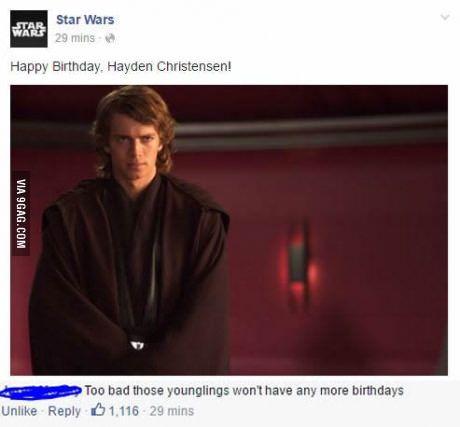 Facebook Savagery Star Wars Humor Star Wars Memes Star Wars Jokes